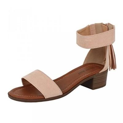 トップモーダ レディース パンプス Top Moda Women's Tassel Fringe Zip Back Block Heel Sandal