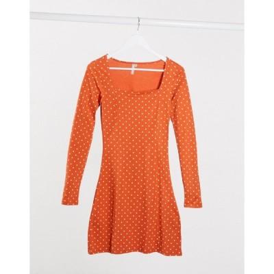 ピーシーズ レディース ワンピース トップス Pieces square neck midi polka dress Orange/white