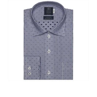 ワイシャツ 長袖 形態安定 ワイド 綿100% 白×ネイビーストライプ、カットドビー 標準体