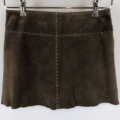【古着】 Orsay スエードスカート ステッチ使い ミニ丈 カットオフ 裏地付き 無地 ブラウン系 レディースW28 n012671