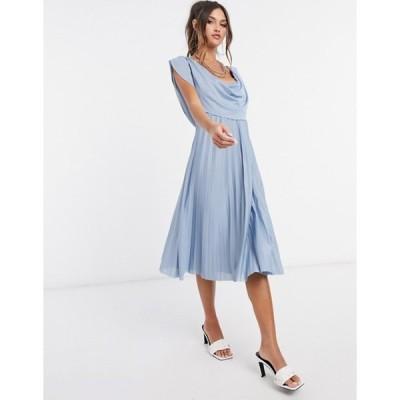 エイソス レディース ワンピース トップス ASOS DESIGN cowl neck midi pleated dress in dusky blue