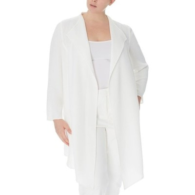 アンクライン ジャケット&ブルゾン アウター レディース Plus Size Drape-Front Jacket NYC White