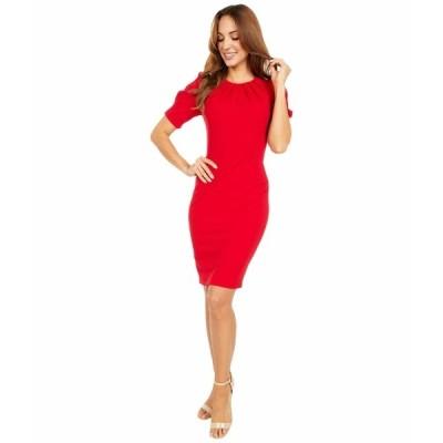 カルバンクライン ワンピース トップス レディース Short Sleeve Sheath Dress with Pleat Bodice Detail Red