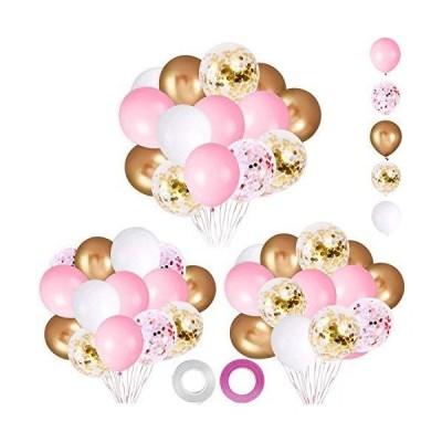 パーティー誕生日 飾り付け バルーンセット 62ピース ピンク ゴールド紙吹雪バルーン ピンク ホワイ トゴールド 風船 結婚式 バースデー