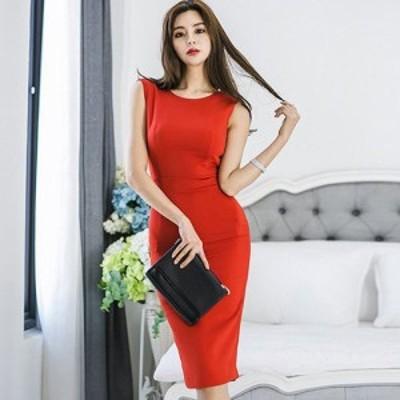 キャバ ドレス キャバドレス ワンピース ミディアムドレス 背中開き リボン 高級感 大人 大胆 バックスタイル 魅せる レッド S M L XL