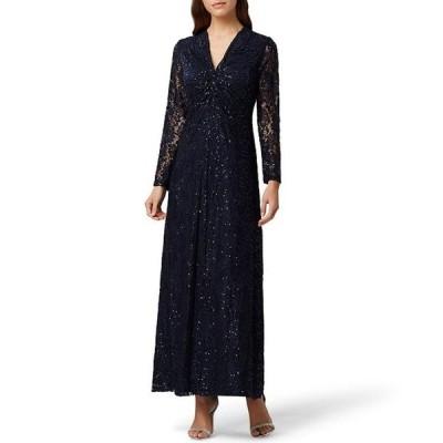 タハリエーエスエル  レディース ワンピース トップス Twist Knot Front Sequin Lace Gown