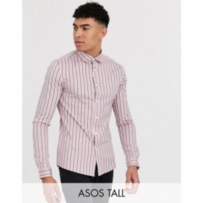 エイソス ASOS DESIGN メンズ シャツ トップス Tall skinny fit stretch shirt in pink stripe ピンク