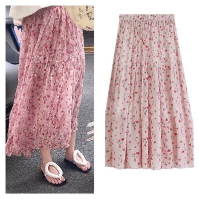 シワ加工ロングスカート ロング丈 花柄 フレア 春 柄 カジュアル マキシ丈 体型カバー スカート 韓国ファッション