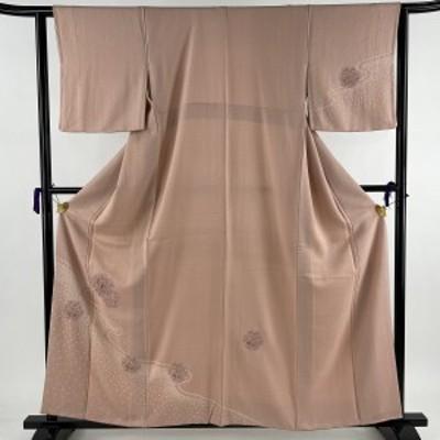 付下げ 美品 秀品 雪輪 霞 刺繍 絞り ピンク 袷 159cm 62.5cm S 正絹 中古