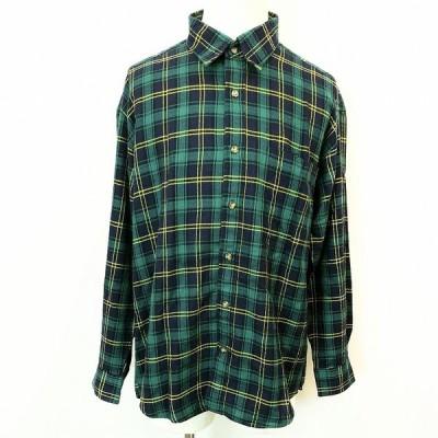 BONSEMIA - L メンズ チェックシャツ 胸ポケット付き レギュラーカラー 長袖 服 アクリル100% グリーン×ネイビー×イエロー 緑×紺×黄