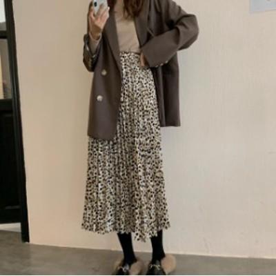 韓国 ファッション レディース プリーツスカート ロング 花柄 ハイウエスト フレア ウエストゴム ゆったり カジュアル 大人可愛い