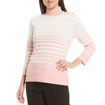 インベストメンツ レディース Tシャツ トップス Petite Size Mock Neck 3/4 Sleeve Button Neck Stripe Top