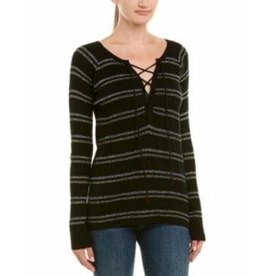Chaser チェイサー ファッション トップス Chaser Lace-Front Sweater Xs Black