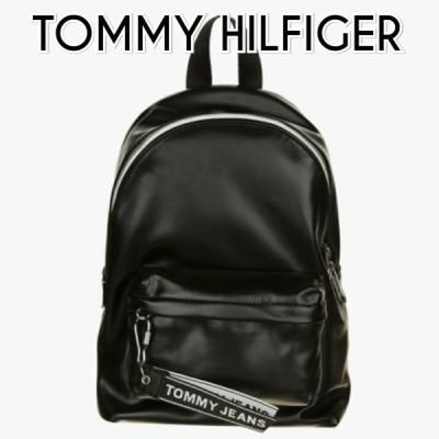 トミージーンズ ロゴ テーピングバックパック 黒