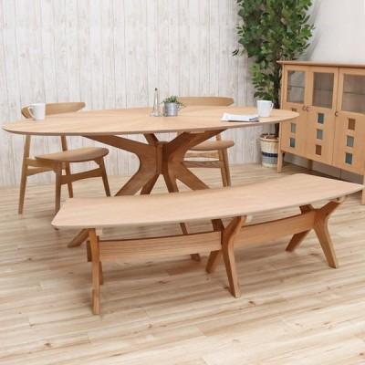 幅182cm 楕円テーブル ダイニング 4点セット 北欧 木製 オーク sbkt182-4-marut351ok 板座 光線張り ナチュラル色 オーバル バースト アウトレット 31 so