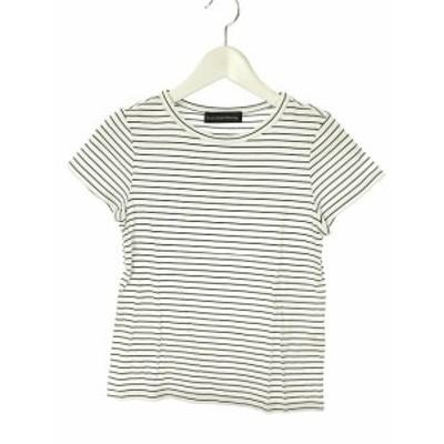 【中古】グリーンレーベルリラクシング ユナイテッドアローズ ボーダー Tシャツ カットソー ホワイト ブラック 半袖