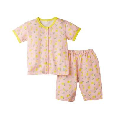 綿100%ニット楊柳前ボタンパジャマ(女の子 子供服) キッズパジャマ, Kids' Pajamas