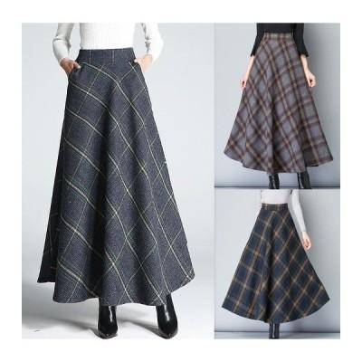 全3色 スカート フリル 切り替え バイカラー 体型カバー 着痩せ チェック柄  大きいサイズ