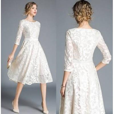 パーティードレス 結婚式 二次会 ワンピース 結婚式 お呼ばれ ドレス 20代 30代 40代 結婚式 パーティー ドレス 袖あり 体型カバー レデ
