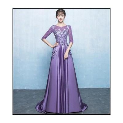 ワンピース レディース ロングドレス お呼ばれドレス 結婚式 パーティードレス 刺繍 透け感レース きれいめ 二次会 韓国風 Aライン イブニングドレス 高級感