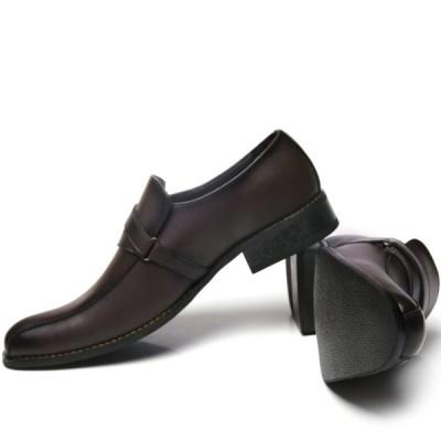 アラモーダ 日本製 ビジネスシューズ 本革 メンズ 革靴 紳士靴 クロスベルトストラップ 1184 ダークブラウン 26.0cm