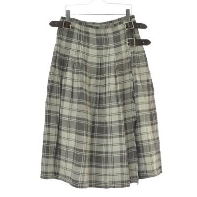 O'NEIL OF DUBLIN / オニールオブダブリン チェック柄リネンラップロング スカート
