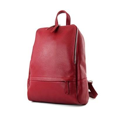 modamoda de - ital. Leather Backpack Ladies Backpack Rucksack Bag Citybag Leather T138, Colour:Dark red 並行輸入品
