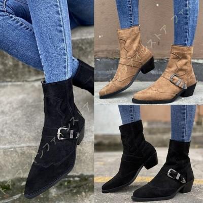 ショートブーツ レディース 靴 太ヒール 5cm ハイヒール シンプル 美脚 バックファスナー ブーティ 大きいサイズ 痛くない 疲れない アンクルブーツ 袴ブーツ