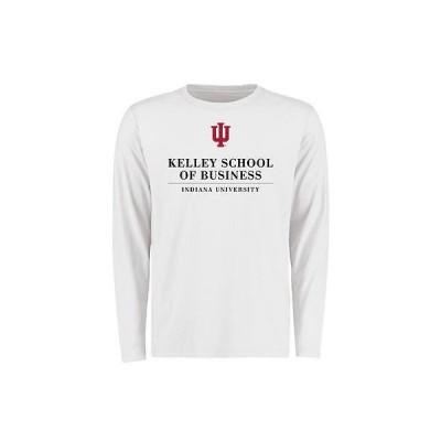 海外バイヤーおすすめ アメリカ USA カレッジ 全米 リーグ NCAA Indiana Hoosiers ホワイト Kelley スクール of Business 長袖 Tシャツ