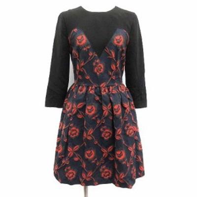 【中古】マドモアゼル タラ Mademoiselle TARA ワンピース ひざ丈 七分袖 バラ柄 花柄 総柄 36 黒 紺 赤 レディース