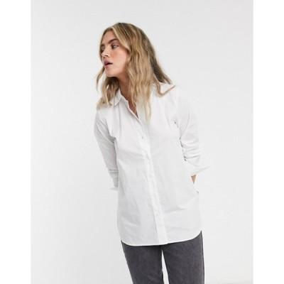 セレクティッド レディース シャツ トップス Selected Femme shirt with side zip in white