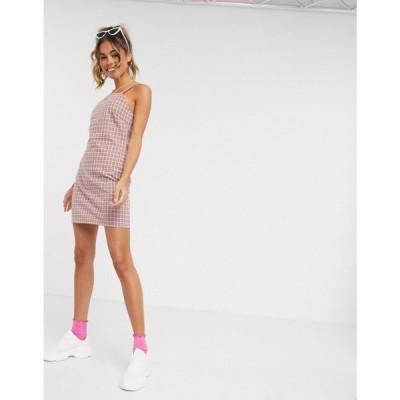 ハートブレーク Heartbreak レディース ワンピース キャミワンピ ワンピース・ドレス square neck tailored cami dress in pink and grey check ピンク/グレー