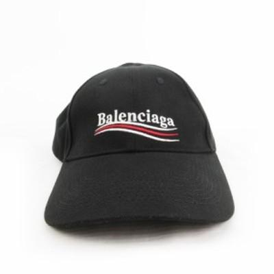 【中古】バレンシアガ BALENCIAGA キャップ キャンペーンロゴ 刺繍 黒 ブラック 白 ホワイト 赤 レッド L 59 帽子 保存袋あり