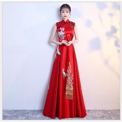 チャイナドレス 立ち襟 パーティードレス 10代 20代 30代40代 ワンピース おしゃれ ウエディングドレス カラードレス 結婚式 成人式 お呼ばれ