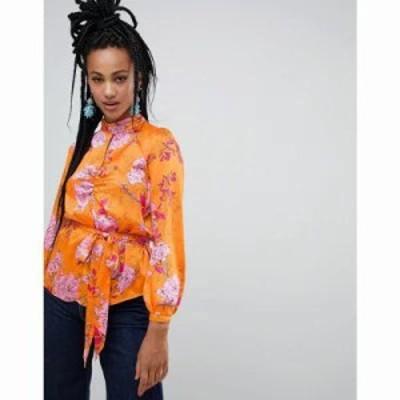 リバーアイランド ブラウス・シャツ floral print key hole key hole blouse with tie waist in orange floral Orange f