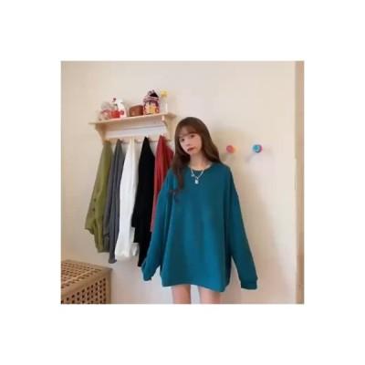 【送料無料】セーター 女 ルース 韓国風 春秋 薄いスタイル 単一色 長袖シャツ 服 | 364331_A63554-1104881