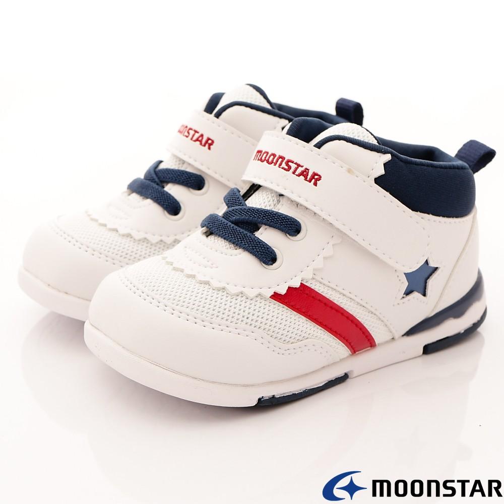 日本月星Moonstar機能童鞋 HI系列 頂級學步款 952白藍(寶寶段)