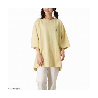(MAC HOUSE(women)/マックハウス レディース)Kelloggs ケロッグ ビッグサガラオーバーTシャツ 1515013-Z/レディース イエロー