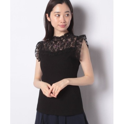 【アクシーズファム】 バラ刺繍ビスチェ切替タンク レディース ブラック M axes femme