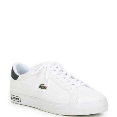 ラコステ メンズ スニーカー シューズ Men's Powercourt 0520 1 Lace-Up Sneakers White/Dark Green