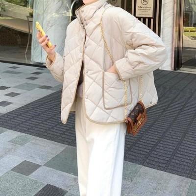 大人カジュアル ジャケット キルティング 無地 ベーシック ゆったり 大人可愛い かわいい カジュアル ナチュラル ガーリー こなれ感 とろみ きれいめ 韓国