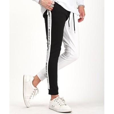 【ラグスタイル】 ポンチサイドラインタイトジョガーパンツ/ジョガーパンツ メンズ ポンチ サイドライン メンズ ホワイト M LUXSTYLE