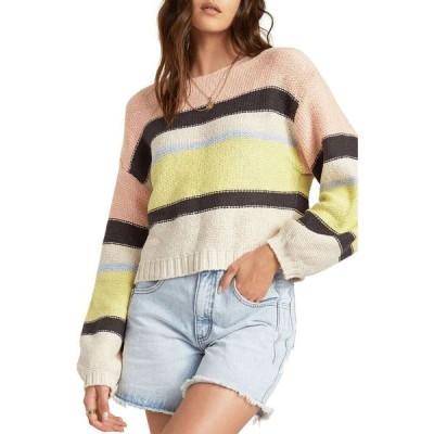 ビラボン BILLABONG レディース ニット・セーター トップス Seeing Stripes Boat Neck Cotton Sweater Lemongrass