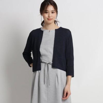 スーナウーナ SunaUna 【洗える】シャイニージャケット風ニットカーディガン (ネイビー)