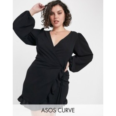 エイソス レディース ワンピース トップス ASOS DESIGN Curve mini wrap dress with balloon sleeves in black Black