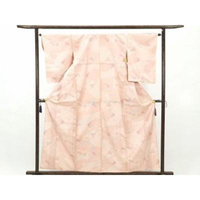【中古】リサイクル紬 / 正絹白地赤絣単衣紬着物 /レディース (古着 中古 紬 リサイクル品)
