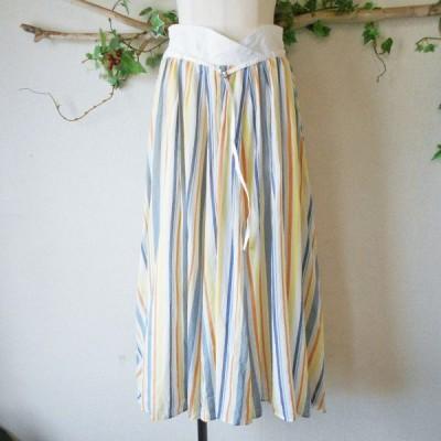 クチューム QTUME 春夏 向き ウエスト の お洒落 な ストライプ ロング スカート 日本製 38