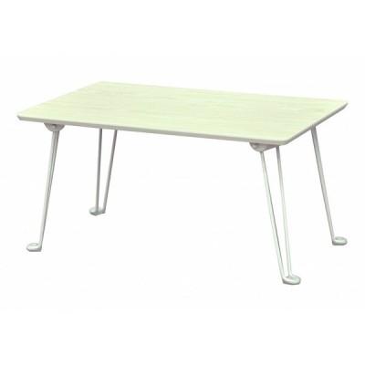 エイ・アイ・エス (AIS) 折脚テーブル ホワイト 60x40x30.5cm メラミン木目調 SRMM-4WH