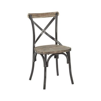 Office Star Somerset X-Back Metal Chair with Hardwood Rustic Walnut Seat Finish, Antique Black並行輸入品