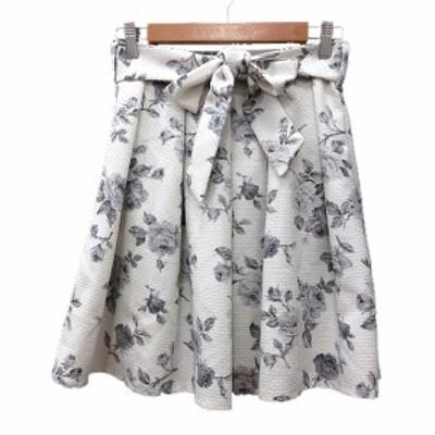 【中古】クレドソル CLEF DE SOL プリーツスカート ミニ 花柄 S 白 ホワイト /MN レディース